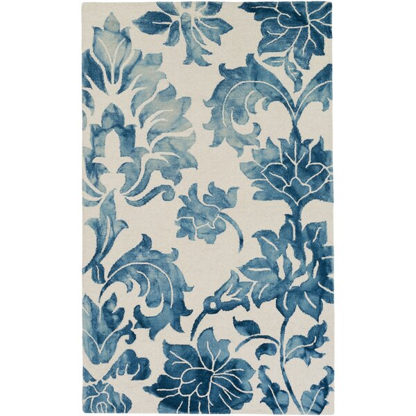 Kier Hand-Tufted Navy Blue/White Area Rug by Ophelia & Co.