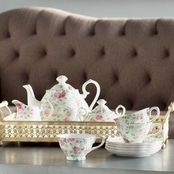 Osterman 11 Piece Porcelain Rose Chintz Blue Cottage Tea Set by Lark Manor