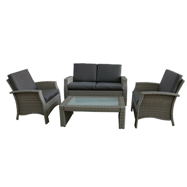 Fiorillo 4 Piece Rattan Sofa Set with Cushions by Brayden Studio