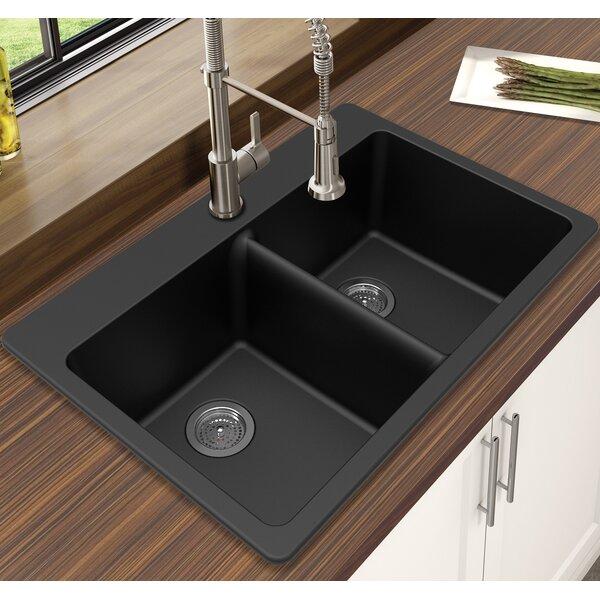 Granite Quartz 33 L x 22 W Double Bowl Drop-In Kitchen Sink by Winpro