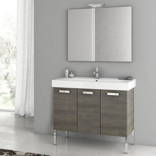 Cubical 41 Single Bathroom Vanity Set with Mirror by ACF Bathroom Vanities