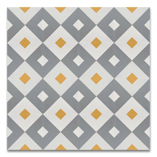 Jadida 8 x 8 Handmade Cement Tile in Gray and White by Moroccan Mosaic