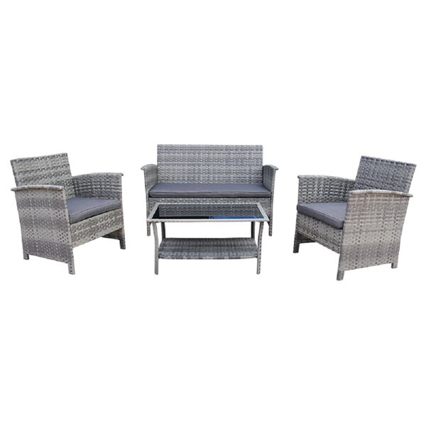 Seth Wicker Coffee 4 Piece Sofa Seating Group with Cushions (Set of 4) by Bayou Breeze Bayou Breeze