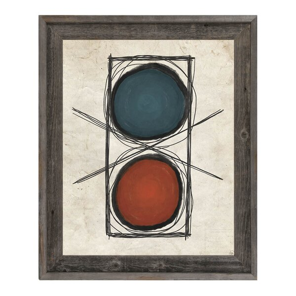 No Go Red and Blue Framed Painting Print on Canvas by Click Wall Art