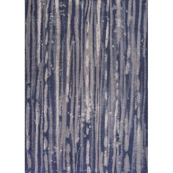 Edison Navy Blue/Ivory Area Rug by Wade Logan