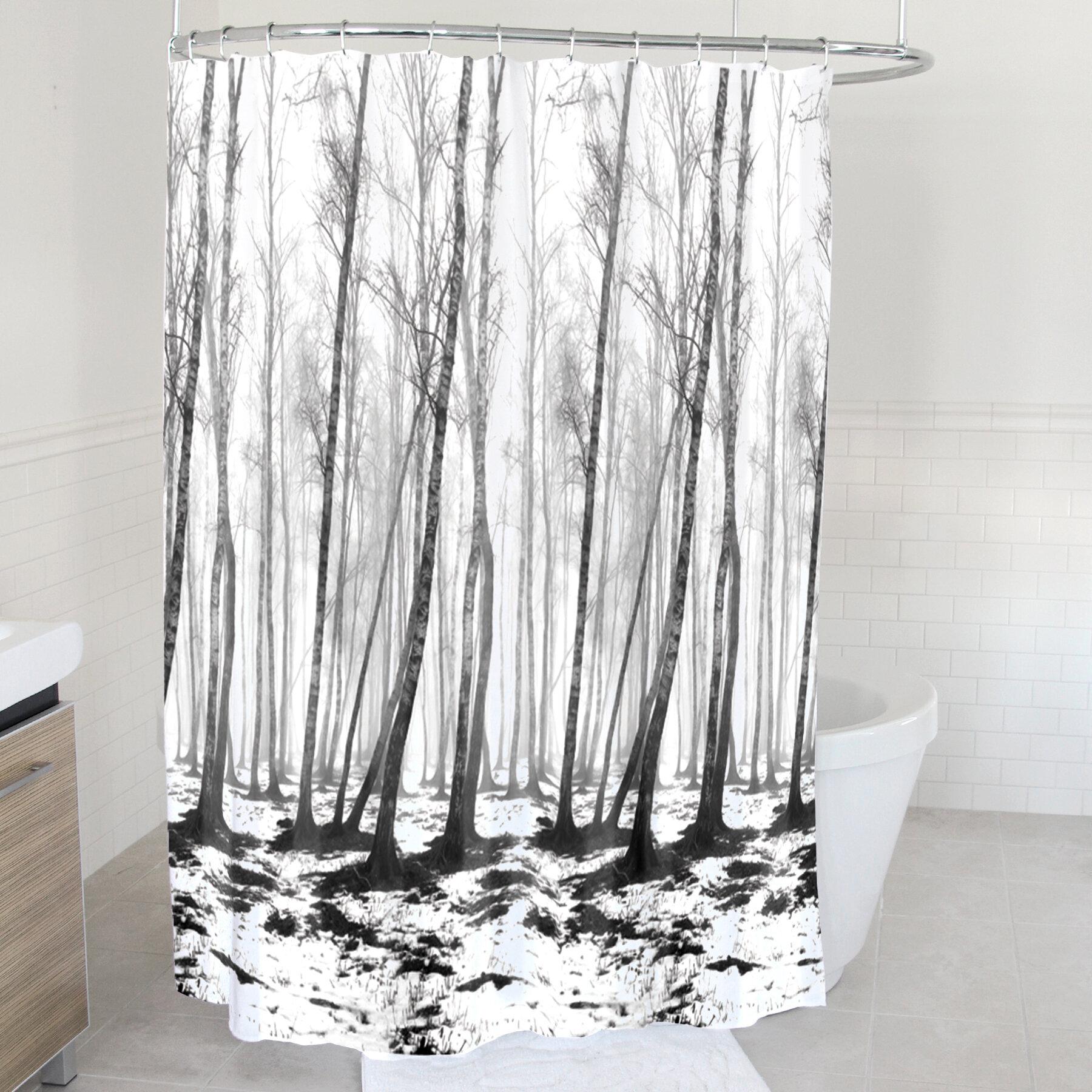 Arnette Fog Forest Fabric Single Shower Curtain