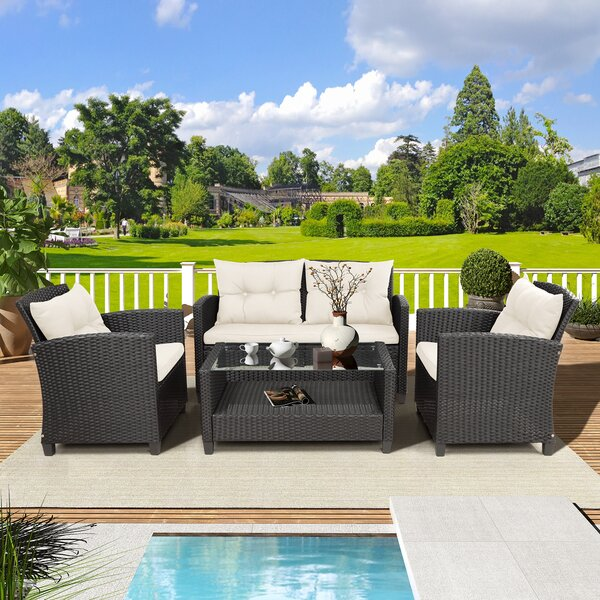 Lorrie 4 Piece Rattan Sofa Seating Group With Cushions By Bay Isle Home by Bay Isle Home #1