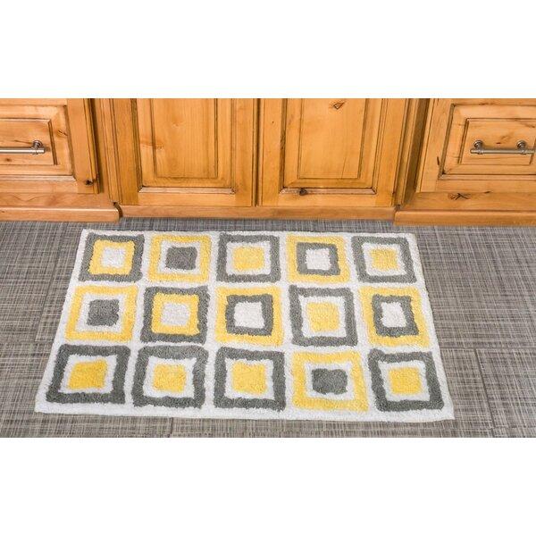 Cubes Cotton Bath Mat by Linen Tablecloth