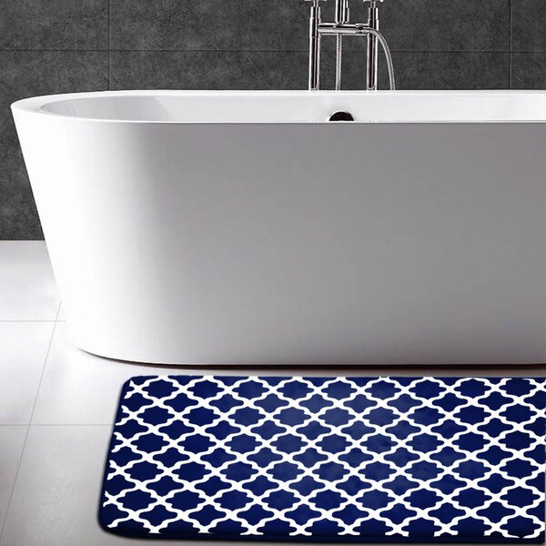 Maison Condelle Geometric Printed Flannel Memory Foam Bath Mat by Linen Depot Direct