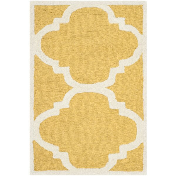Martins Hand-Tufted Gold/Ivory Area Rug by Wrought Studio