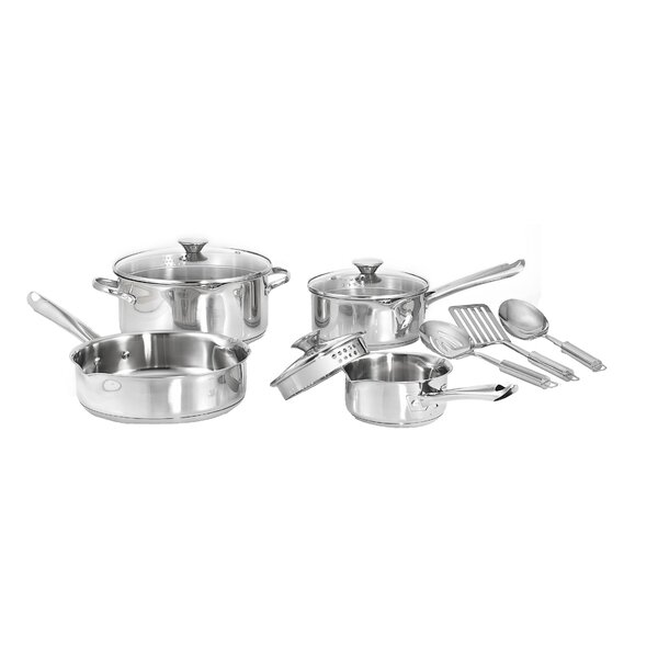 Cook and Strain 3-Ply Stainless Steel 10 Piece Cookware Set by WearEver