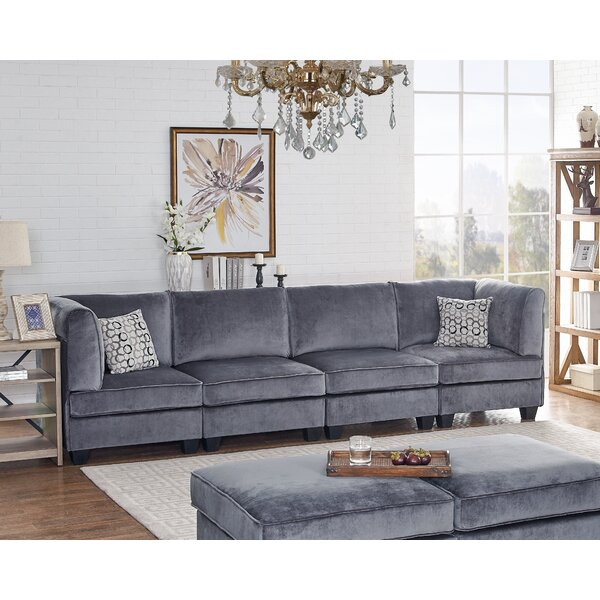 Modern Style Avis Modular Velvet Four Seated Sofa by Ivy Bronx by Ivy Bronx