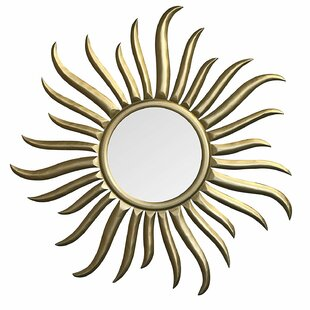 World Menagerie Brazell Hand-Carved and Gilded Wood Sun Accent Mirror