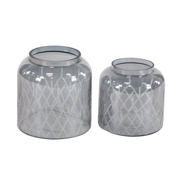 Modern 2 Piece Glass Hurricane Set by Wrought Studio