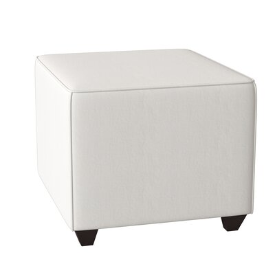 Beril Ottoman AllModern Custom Upholstery Body Fabric: Microsuede Charcoal, Piping Fabric: Classic Bleach White