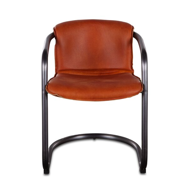 Guzman Genuine Leather Upholstered Arm Chair in Chestnut (Set of 2) by Williston Forge Williston Forge