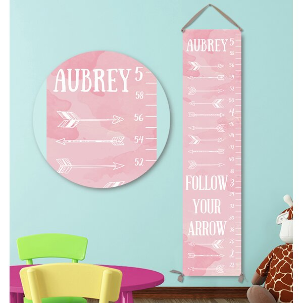Personalized Arrows Pink Canvas Growth Chart by Jolie Prints