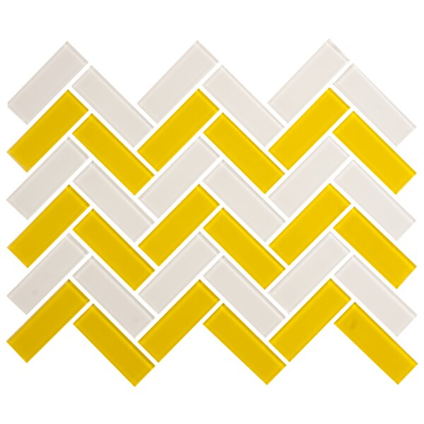 Signature Line Herringbone 1 x 3 Glass Subway Tile in Gray/Yellow by Susan Jablon