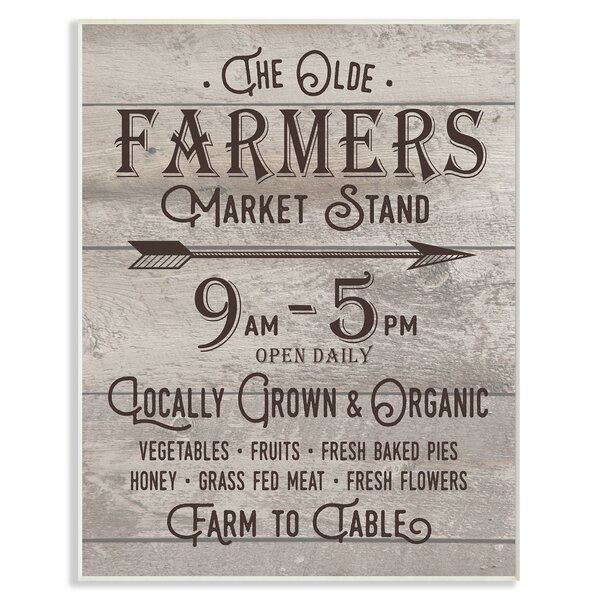 Vintage Sign 'The Old Farmers Market Stand' Textual Art by Stupell Industries