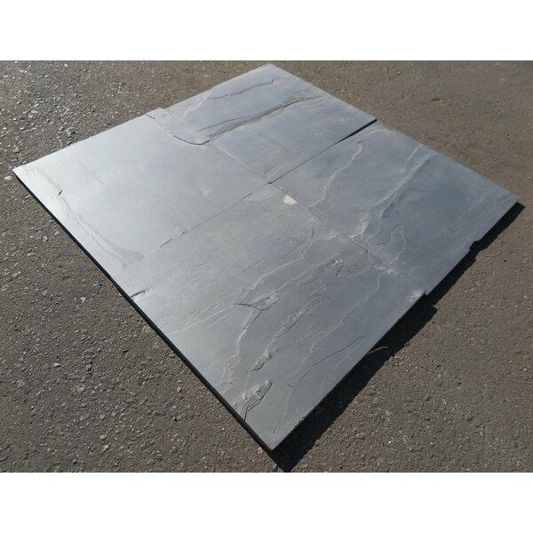 Black Slate Natural Cleft Face, Gauged Back 24x24 Slate Field Tile