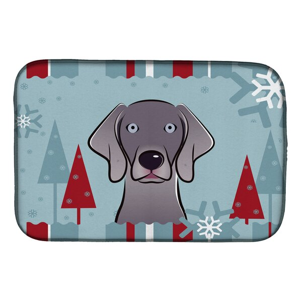 Winter Holiday Weimaraner Dish Drying Mat by Caroline's Treasures