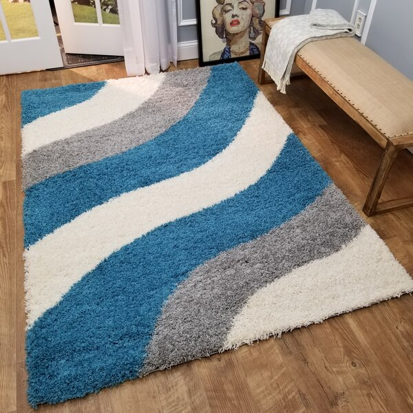 Burns Block Striped Waves Contemporary White/Turquoise Blue Shag Area Rug by Zipcode Design