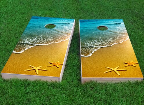 Beach Starfish Theme Cornhole Game (Set of 2) by Custom Cornhole Boards