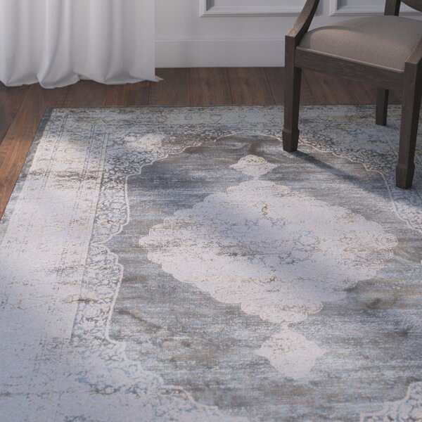 Beecroft Navy Blue/Silver Area Rug by Darby Home Co