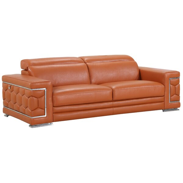 #1 Hawkesbury Common Leather Sofa By Orren Ellis New