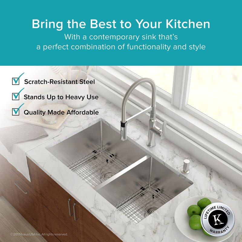 """Kitchen Sink 19 X 33: Kraus 33"""" X 19"""" Double Basin Undermount Kitchen Sink With"""