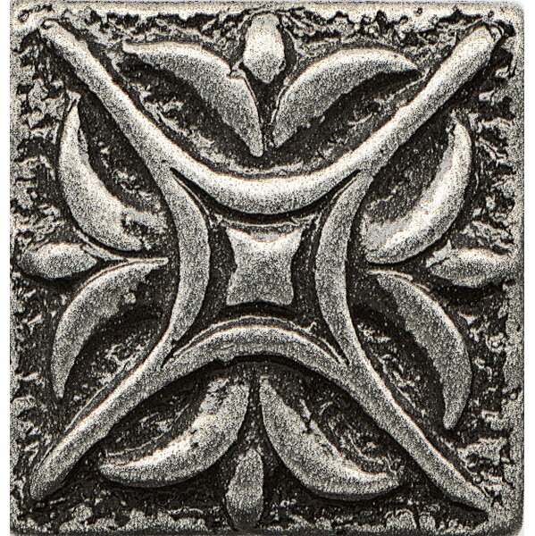 Ambiance Insert Rising Star 1 x 1 Resin Tile in Pewter by Bedrosians
