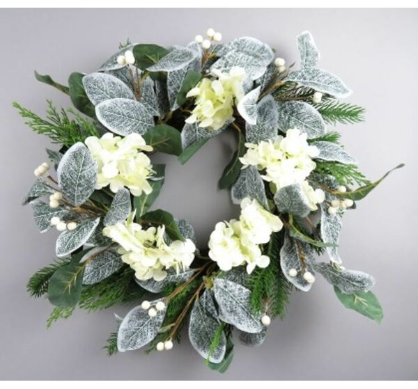 Mistletoe Hydrangea 22 Silk Wreath by The Holiday Aisle