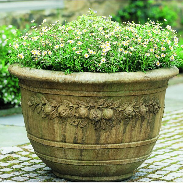 Jacklyn Round Pomegranate Cast Stone Pot Planter by Fleur De Lis Living