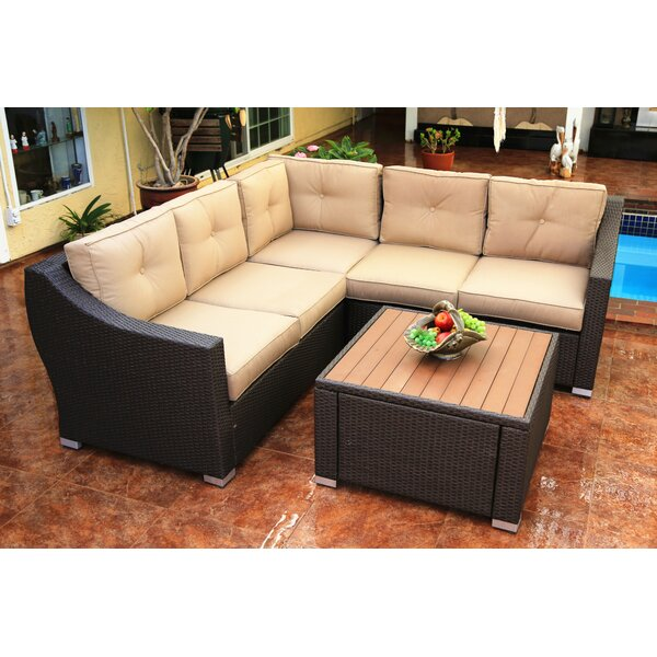 Hasan 4 Piece Rattan Sectional Seating Group with Cushions by Brayden Studio