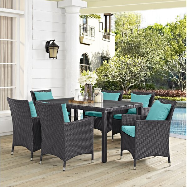 Brentwood Outdoor Patio 7 Piece Dining Set with Cushions