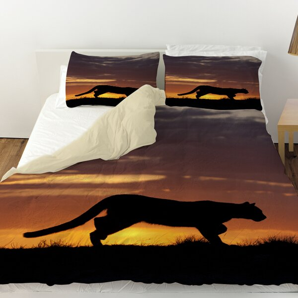 Cougar Silhouette Duvet Cover by Manual Woodworkers & Weavers
