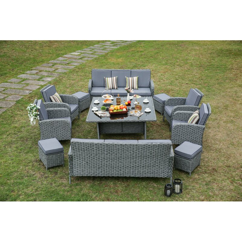 Etonnant Hofstra 12 Piece Wicker Patio Dining Set With Cushions