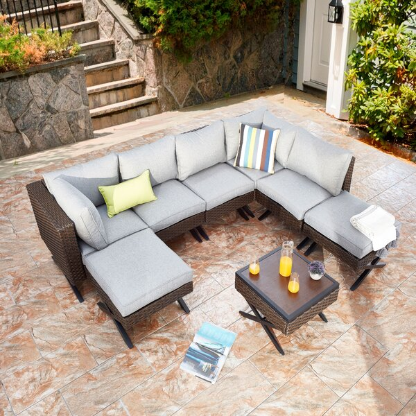 Rimersburg 8 Piece Sectional Seating Group with Cushions by Latitude Run