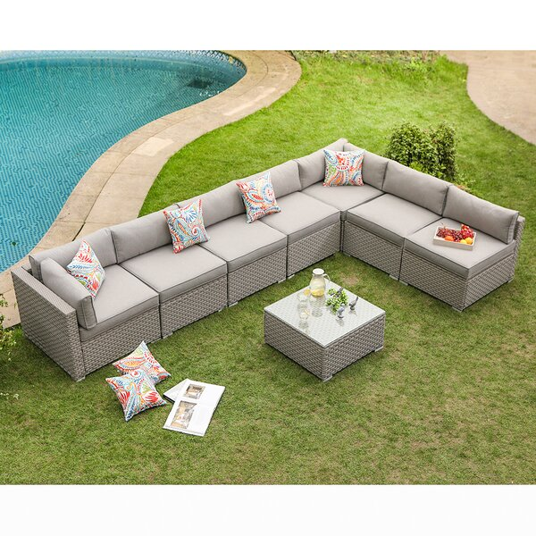 Danil 8 Piece Sectional Seating Group with Cushions by Wrought Studio