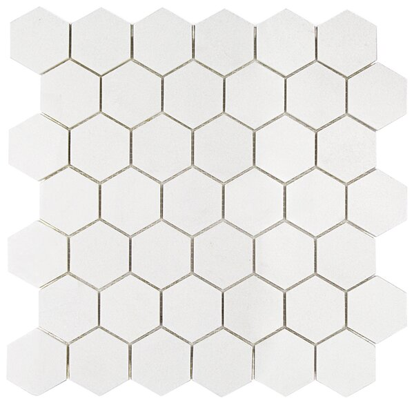 Hexagon 2 x 2 Marble Mosaic Tile in White Thassos by Splashback Tile