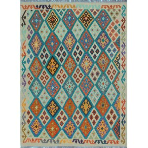 Vallejo Traditional Kilim Hand Woven Wool Beige/Orange Area Rug
