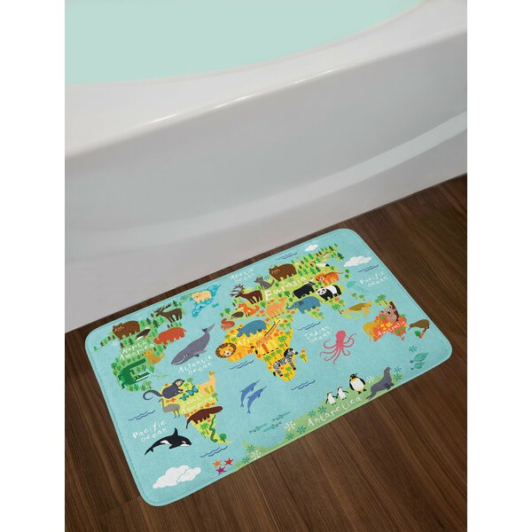 Wanderlust Animal Map of the World for Children Kids Cartoon Mountains Forests Non-Slip Plush Bath Rug by East Urban Home