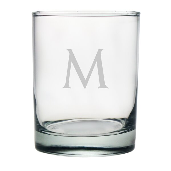 Block Monogrammed Rocks Glass (Set of 4) by Susquehanna Glass