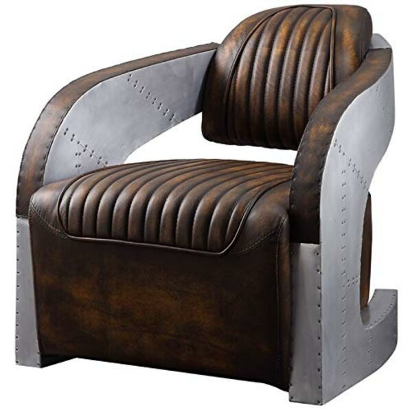 Hong Faux Leather Upholstered Wooden Armchair by 17 Stories