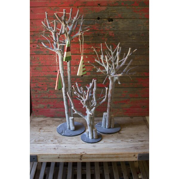 3 Piece Washed Root Trees with Wooden Bases Tree Topper Set by The Holiday Aisle