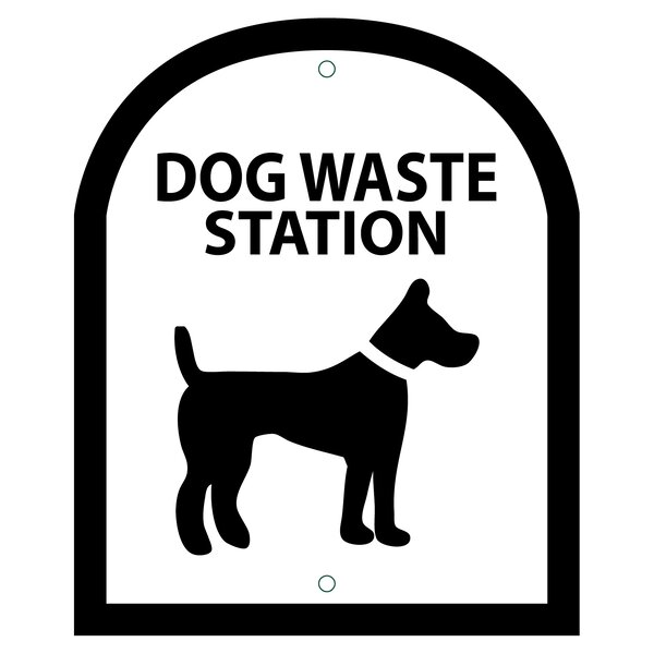 Arch Symbol Dog Waste Station Sign by Zero Waste USA