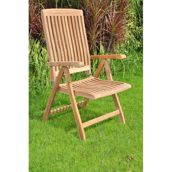 Dorton Folding Teak Patio Dining Chair by Rosecliff Heights