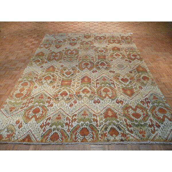 One-of-a-Kind Rhyne Ikat Hand-Knotted Wool Beige Area Rug by Astoria Grand