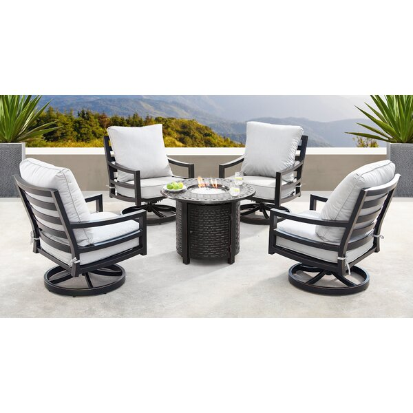 Glenmore 5 Piece Dining Set with Cushions and Firepit