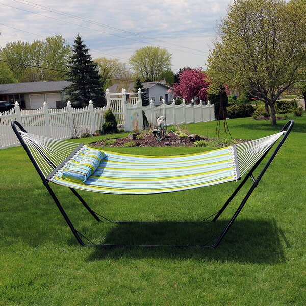 Brielle Quilted Double Fabric 2-Person Tree Hammock With Stand By Freeport Park